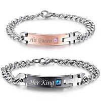 """Bracelets """"His Queen"""" and """"Her King"""" Set"""