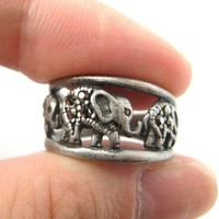 Elephant Animal Family Parade Ring in Silver | Animal Jewelry