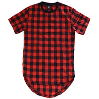 Deluxe - Curved Hem Extended Flannel Tee