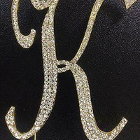 Gold Letter Initial K Birthday Crystal Rhinestone Cake Topper K Party Monogram