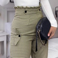 Plaid high waist work pants women Ruffle zipper harem pants capris female Vintage button ladies trousers