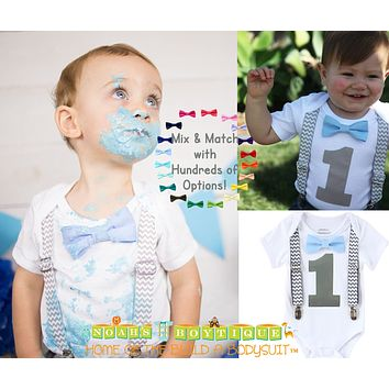 First Birthday Shirt Boy Grey Chevron and Light Baby Blue Bow Tie