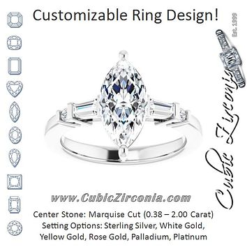 Cubic Zirconia Engagement Ring- The Belem (Customizable 5-stone Baguette+Round-Accented Marquise Cut Design))