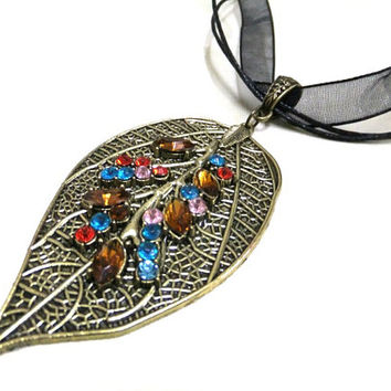 Large Bronze Leaf Necklace with Rhinestones, Colourful Rhinestone Leaf Necklace, Bronze Necklace, Bohemian Necklace, Nature Necklace, Leaves