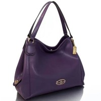 COACH Women Shopping Leather Tote Crossbody Satchel Shoulder Bag Purple