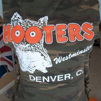 Custom Cut Hooters Denver, CO Camo Side Tie Cotton Hipster Crop Top Sz S