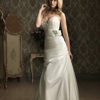 White & Silver Embroidered Satin Strapless Sweetheart Ruched Wedding Dress - Unique Vintage - Cocktail, Evening & Pinup Dresses