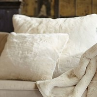 FAUX FUR PILLOW COVER - IVORY