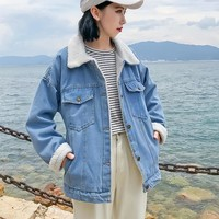 Trendy Autumn Winter Female Fashion Casual Wild Thick Lambs Wool Denim Coat Jacket Women Denim Jacket Warm Wool Linne Outwear Coats AT_94_13