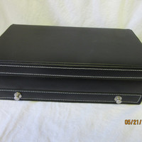 Black Leather Men's Jewelry Box, Father's Day Gift; Wolf Design INC. with drawer, Vintage