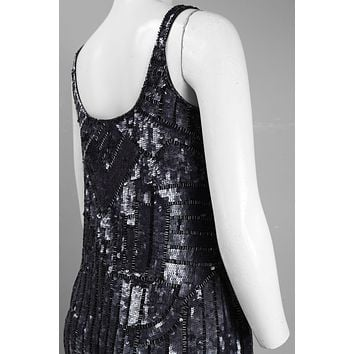 Adrianna Papell Scoop Neck Abstract Bead and Sequin Tank Dress