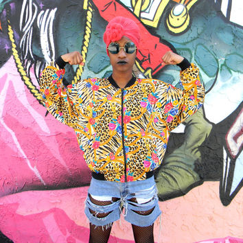 Vintage 80s 90s Windbreaker Jacket, 80's 90's Leopard Print, Roses, and Gold Chains Print Jacket, Hip Hop Party Zip Up Bomber, Size M Medium