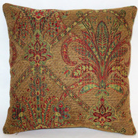 "Jewel Tone Brocade Pillow, 17"" Sq, Gold Red Green Yellow Chenille Tapestry, Florentine Medallion, Cover Only or Insert Included, Ready Ship"