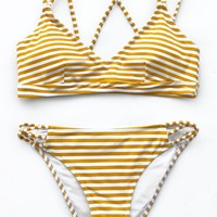 Cupshe Sea Day Stripe Bikini Set