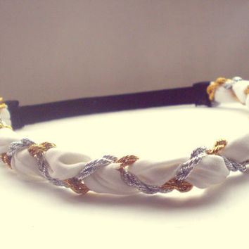 White Gold and Silver Braided Headband Hippie Headband Womens Hair Accessories Greek Goddess Headband