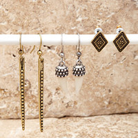 Etched Faux Stone Earring Set