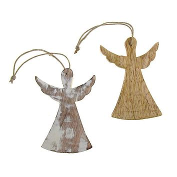 Hanging Wooden Angel with Wings Christmas Ornament, 4-Inch
