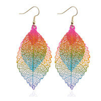 Metal Mesh Dangling Double Bold Rainbow Leaf Earrings for Woman Everyday Fashion