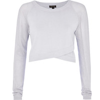 River Island Womens Light grey wrap front mesh sleeve crop top