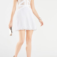 KINSEY LACE-BLOCKED PLEATED DRESS