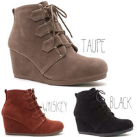 Brinley Wedge Booties in Taupe, Whiskey, or Black