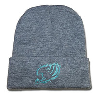 RHXING Anime Fairy Tail Logo Embroidery Beanie Skullies Knitted Hats Skull Caps Beanies Grey