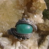 Turquoise Sterling Silver Wire Wrap Ring ANY SIZE