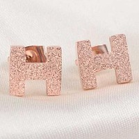 Hermes Stylish Women Simple H Letter Titanium Steel Rose Golden Earrings Accessories Jewelry