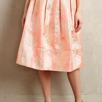Blushing Blooms Midi Skirt by Champagne & Strawberry Pink