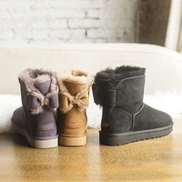 DCCK1IN UGG NAVEAH Bow Leather Shoes Boots