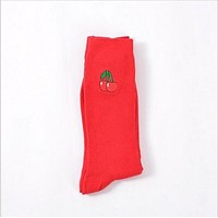 Cherry Embroidered Socks