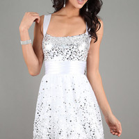 Short White Dress with Sequins
