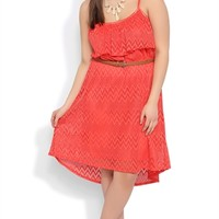 Plus Size Tribal Crochet Dress with High Low Hem and Braided Belt