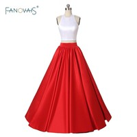 Sexy Halter Neckline Two Pieces Red Prom Dresses Long A-Line Satin Evening Dresses 2017 Party Gown Vestidos De Festa EV12