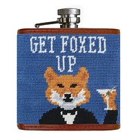 Get Foxed Up Needlepoint Flask by Smathers & Branson