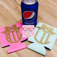 Big & Little Bow Metallic Koozie Sorority Metallic Koozie Set of 2 Kozzie Coozie Preppy Monogrammed Koozie Monogrammed Gifts
