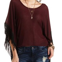 Lightweight Ribbed Poncho with Fringe