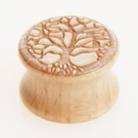 Wooden Plug Tunnel Natural Wood Plug with Engraved Elven Tree Design (10mm 00 Gauge) Sold As a Pair