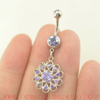 Belly Button jewelry, purple flower Navel Jewelry,stunning belly button rings,girlfriend gift,belly piercing jewelry,oceantime