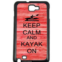 Keep Calm And Kayak On Red Wood Samsung Galaxy Note 2 Note II N7100 Case Fits Samsung Galaxy Note 2 Note II N7100