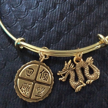 Four Wishes Chinese symbols and Golden Dragon Charm Adjustable Expandable Bangle Bracelet Gold Handmade Wire Bangle Stacking Trendy