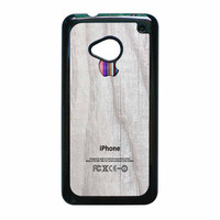 Apple Logo On White Wood Colorful HTC One M7 Case