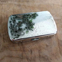 Engraved Silver Metal Box, Wild West Flower Pattern Storage Tin | Money holder, trinket box purse, hinged box with lid, cigarette case.