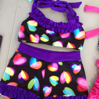 Hearts & Ruffle Halter Dancewear Set -- Custom Made (size-child XS) Ready To Ship