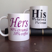 His and hers custom coffee mug set how i take my coffee mugs