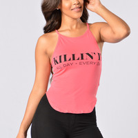 Killin' It Everyday Top - Coral
