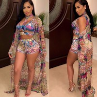 Women Sexy Three Piece Floral Print Tank Crop Top Short Set Cover Up
