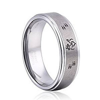 8mm Deer Ring Her Buck His Doe Ring Tungsten Ring Weding Bands