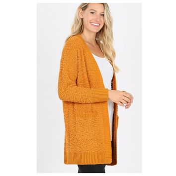Cozy Super Soft Popcorn Desert Mustard Cardigan with Pockets
