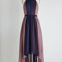 Colorblocking Long Sleeveless A-line Peachy Queen Dress in Berry